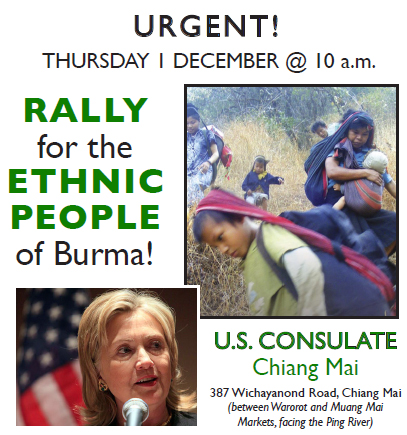 Rally in support of the ethnic people of Burma and all political prisoners