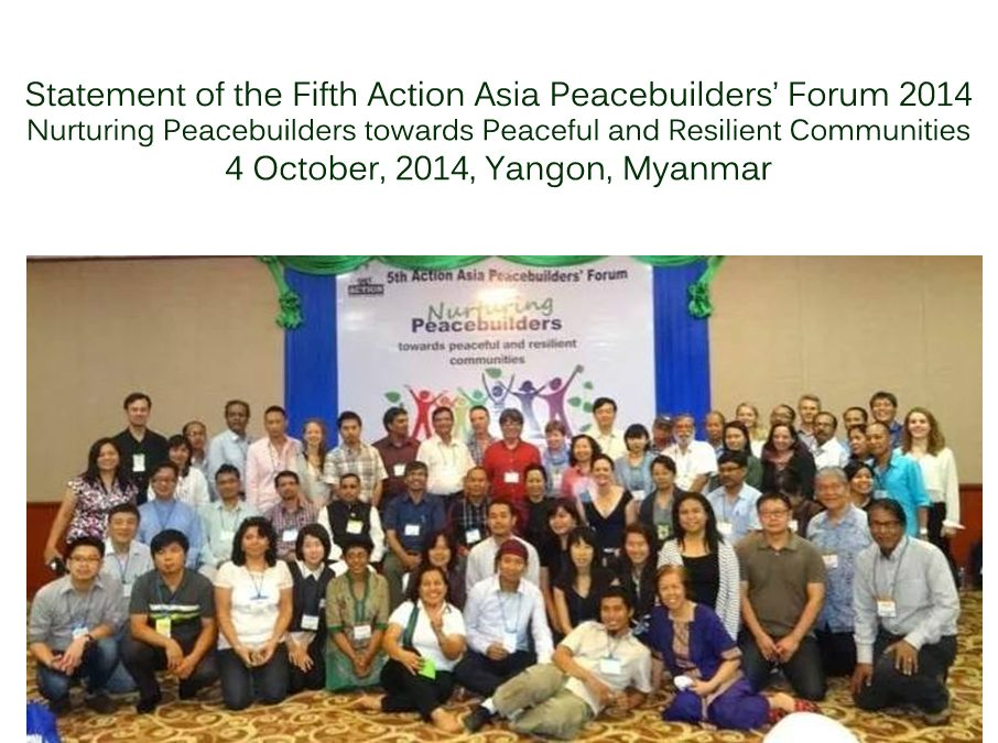 Statement of the Fifth Action Asia Peacebuilders' Forum 2014